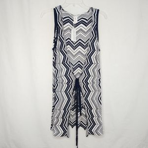 Trina Turk NEW Small Navy Blue White Tie Cover Up
